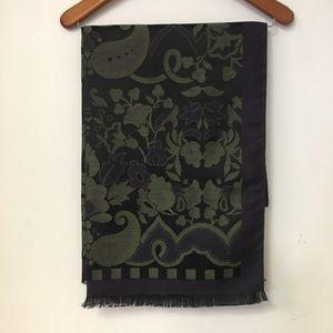 "Etro Purple, Green Floral Print Scarf 27"" x 70"""